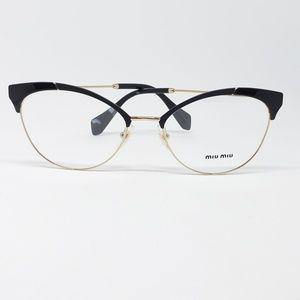 7d4f21dac2cf Miu Miu Rx Eyeglasses Matte Black Gold Frame